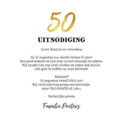 Uitnodigingskaart man verjaardag 50 jaar krijtbord goud 3