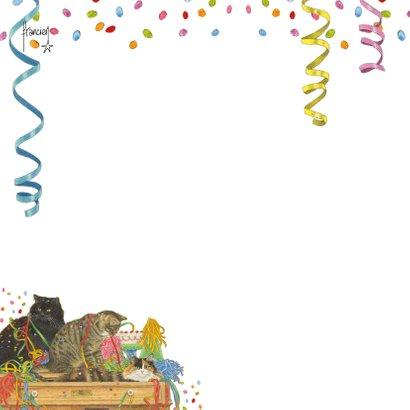 Uitnodigingskaart met feestelijke katten en confetti 2