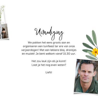 Uitnodigingskaart met krijtbord, bloemen en confetti 3