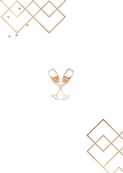Uitnodigingskaart pensioen stijlvol goud champagne grafisch 2