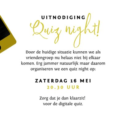 Uitnodigingskaart quiz night mobiel vrienden familie goud 3
