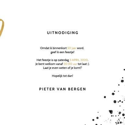 Uitnodigingskaart verjaardag 50 zwarte spetters & jaartallen 3