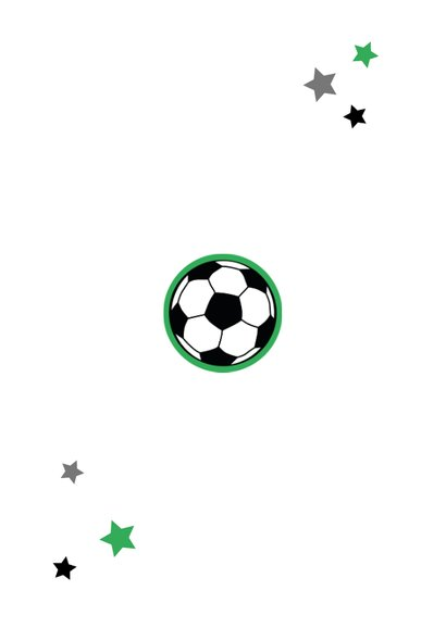 Uitnodigingskaart voetbalfeestje met foto Achterkant