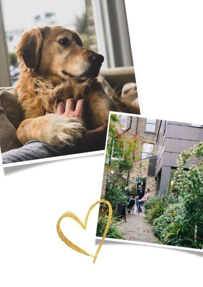 Umzugskarte Fotocollage und goldenes Herz 2