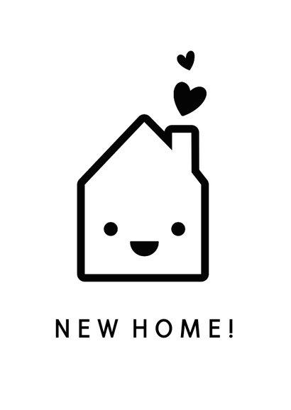Umzugskarte fröhliches Haus 'Happy New Home' 2