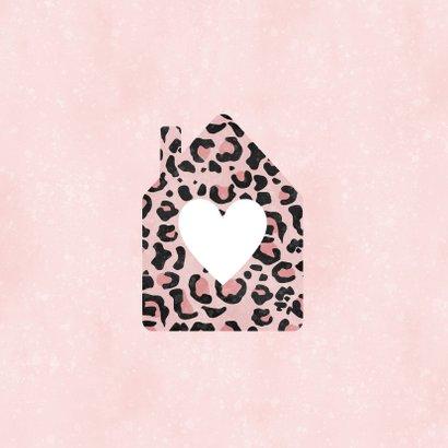 Umzugskarte Haus mit Herz Leopardenprint 2