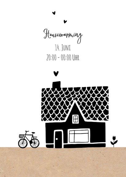 Umzugskarte mit Haus und Fahrrad 2
