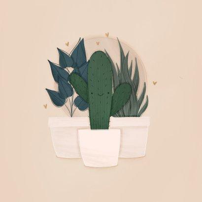 Umzugskarte mit Kaktus, Pflanzen & Herzchen 2