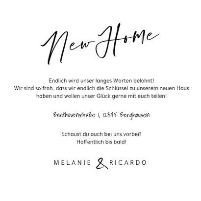Umzugskarte 'New Home' mit Foto und Schlüssel 3