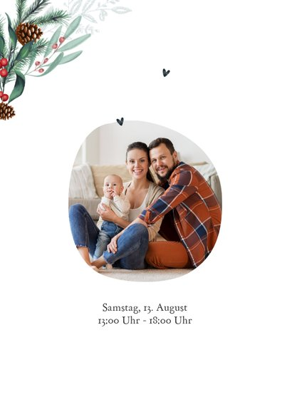 Umzugskarte zu Weihnachten mit Haus und Tannengrün 2