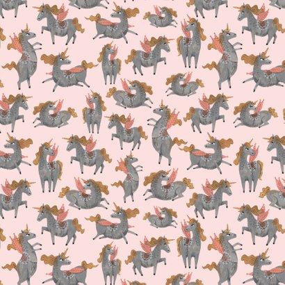 Unicorn verjaardagskaart roze 2