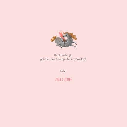Unicorn verjaardagskaart roze 3
