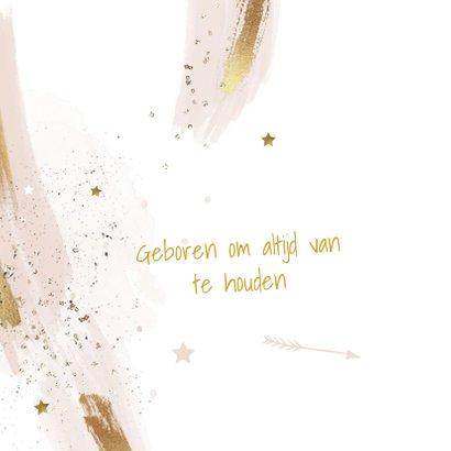 Uniek geboortekaartje meisje watercolor penseel strepen 2