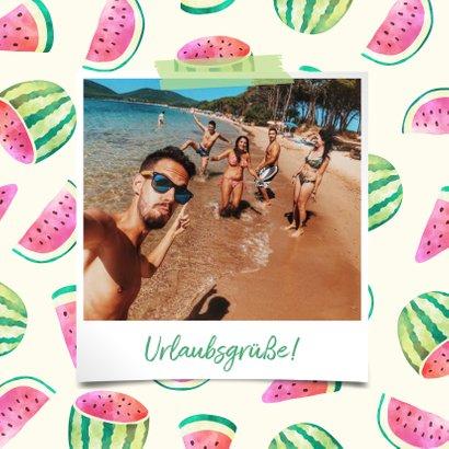 Urlaubskarte Polaroidfoto und Melonen Muster 2