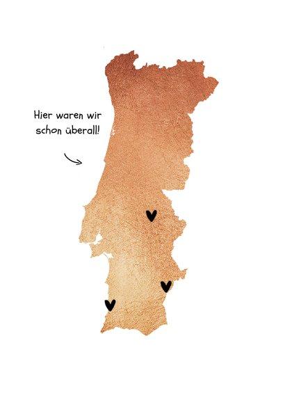 Urlaubskarte Portugal mit Fotos und Herzen 2