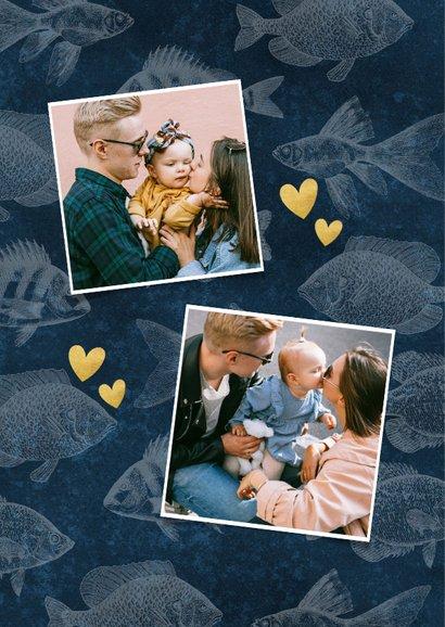 Vaderdag kaart fotocollage met vissen patroon fijne vaderdag 2