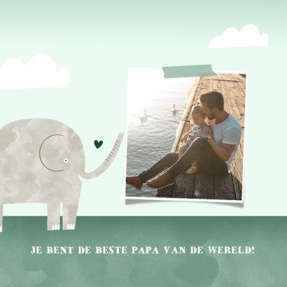 Vaderdagkaart bedankt lieve papa kind olifantjes waterverf 2