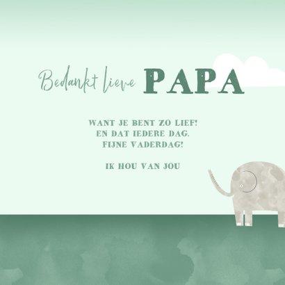 Vaderdagkaart bedankt lieve papa kind olifantjes waterverf 3
