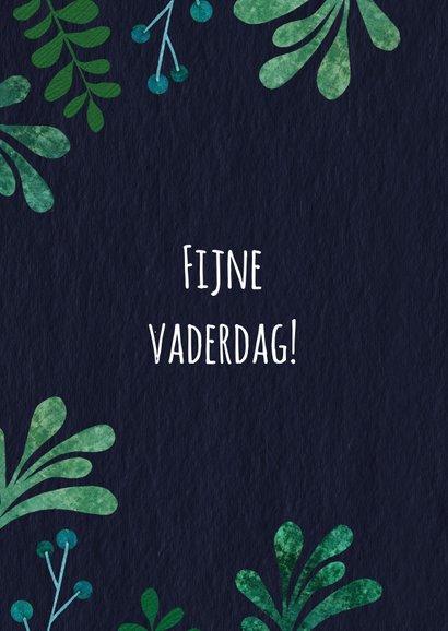 Vaderdagkaart botanisch in groen en blauwtinten 2