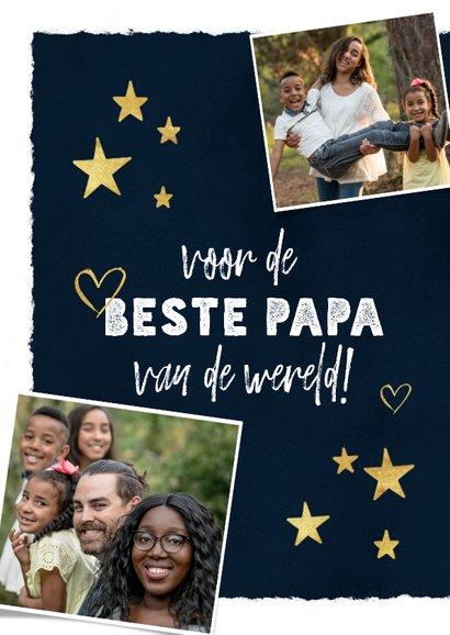 Vaderdagkaart met fotocollage, typografie, sterren & hartjes 2