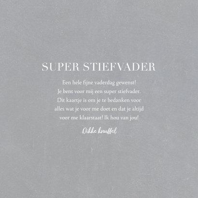 Vaderdagkaart 'super stiefvader' met grote foto en tekst 3