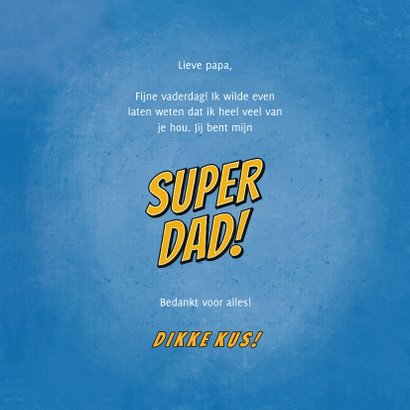 Vaderdagkaart you're a SUPER DAD in comic stijl 3