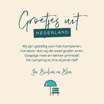 Vakantiekaart groetjes uit nederland kamperen camper foto 3