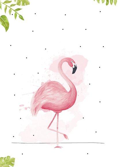 Vakantiekaart met roze flamingo, fijne vakantie!  2