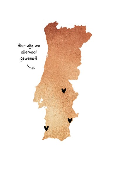 Vakantiekaart Portugal roségoud fotocollage hartjes 2