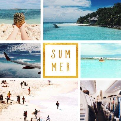 Vakantiekaart 'Summer' met 6 foto's vierkant 2