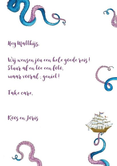 Vakantiekaart Tattood Octopus 3
