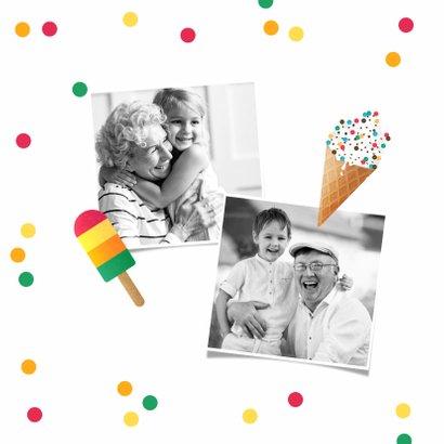 Vakantiekaart vrolijk zomer ijsjes confetti fijne vakantie 2