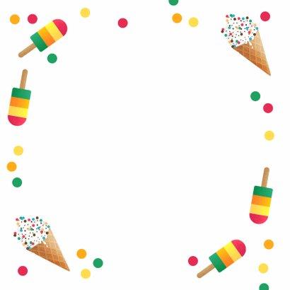 Vakantiekaart vrolijk zomer ijsjes confetti fijne vakantie Achterkant