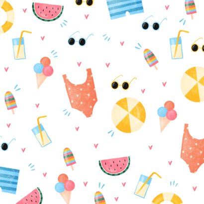 Vakantiekaart zomers met fijne vakantie zonnebril en ijsjes 2