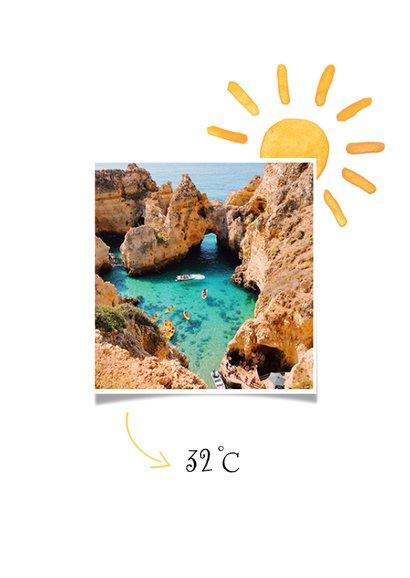 Vakantiekaart zonvakantie zonnetjes zonnestralen hartjes 2