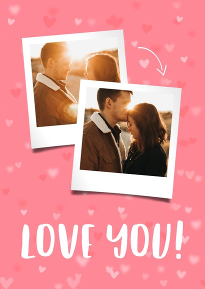 Valentijnskaart 2 foto's hartjes achtergrond 2