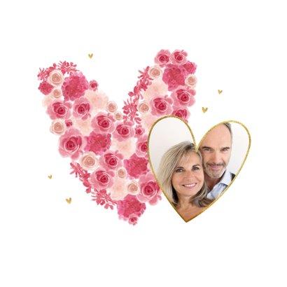 Valentijnskaart bloemen hartjes goud foto lief 2
