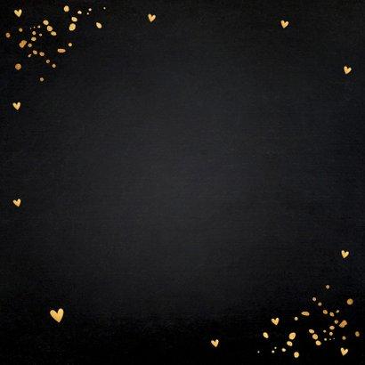 Valentijnskaart fotocollage donker gouden confetti 2