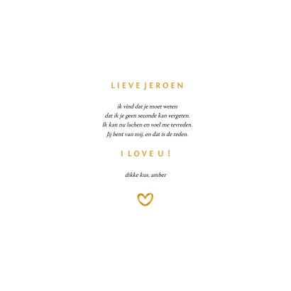 Valentijnskaart fotocollage met gouden I love U 3