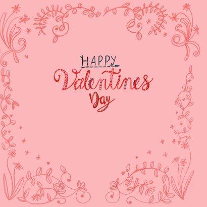 Valentijnskaart geschilderde hartjes en bloemen 3