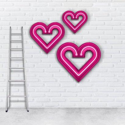 Valentijnskaart groot roze neon hart 2