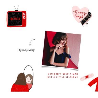 Valentijnskaart happy singleday tips illustratie rood roze 2
