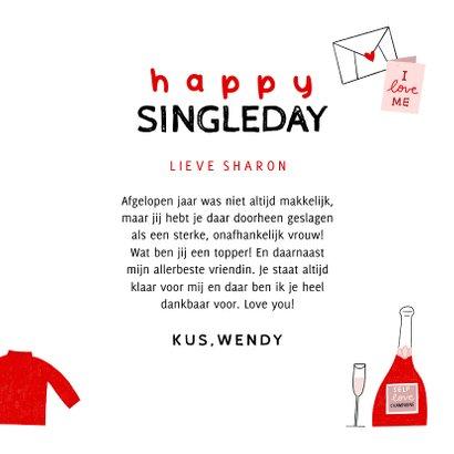 Valentijnskaart happy singleday tips illustratie rood roze 3