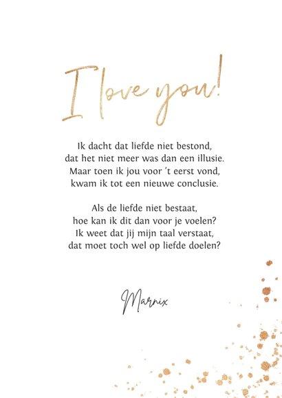 Valentijnskaart hart liefde goud spetters i love you 3