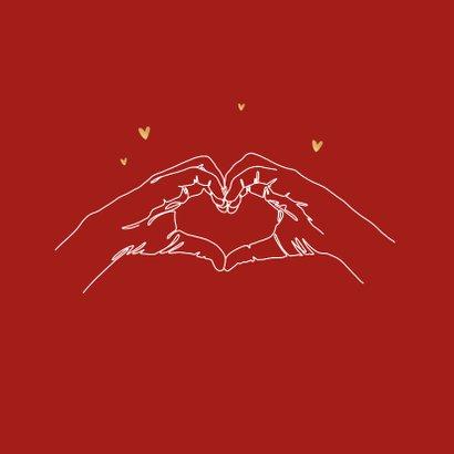 Valentijnskaart hartgebaar bedankt liefde hartjes goud 2