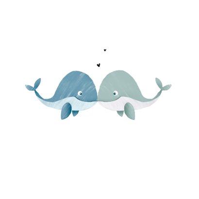 Valentijnskaart homo met walvisjes en hartjes 2