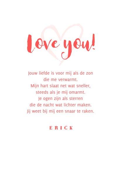 Valentijnskaart i love you hartjes roze foto 3