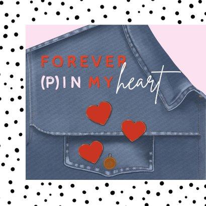 Valentijnskaart ik pin mij vast aan jou hartjes op jeans 2