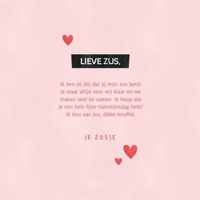 Valentijnskaart knuffel voor de liefste zus met hartjes 3