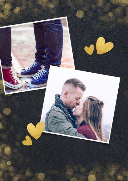 Valentijnskaart krijtbord met gouden hartjes en confetti 2